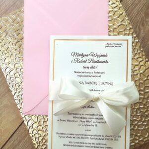 Jednokartkowe zamówienia ślubne ze złotymi elemntami