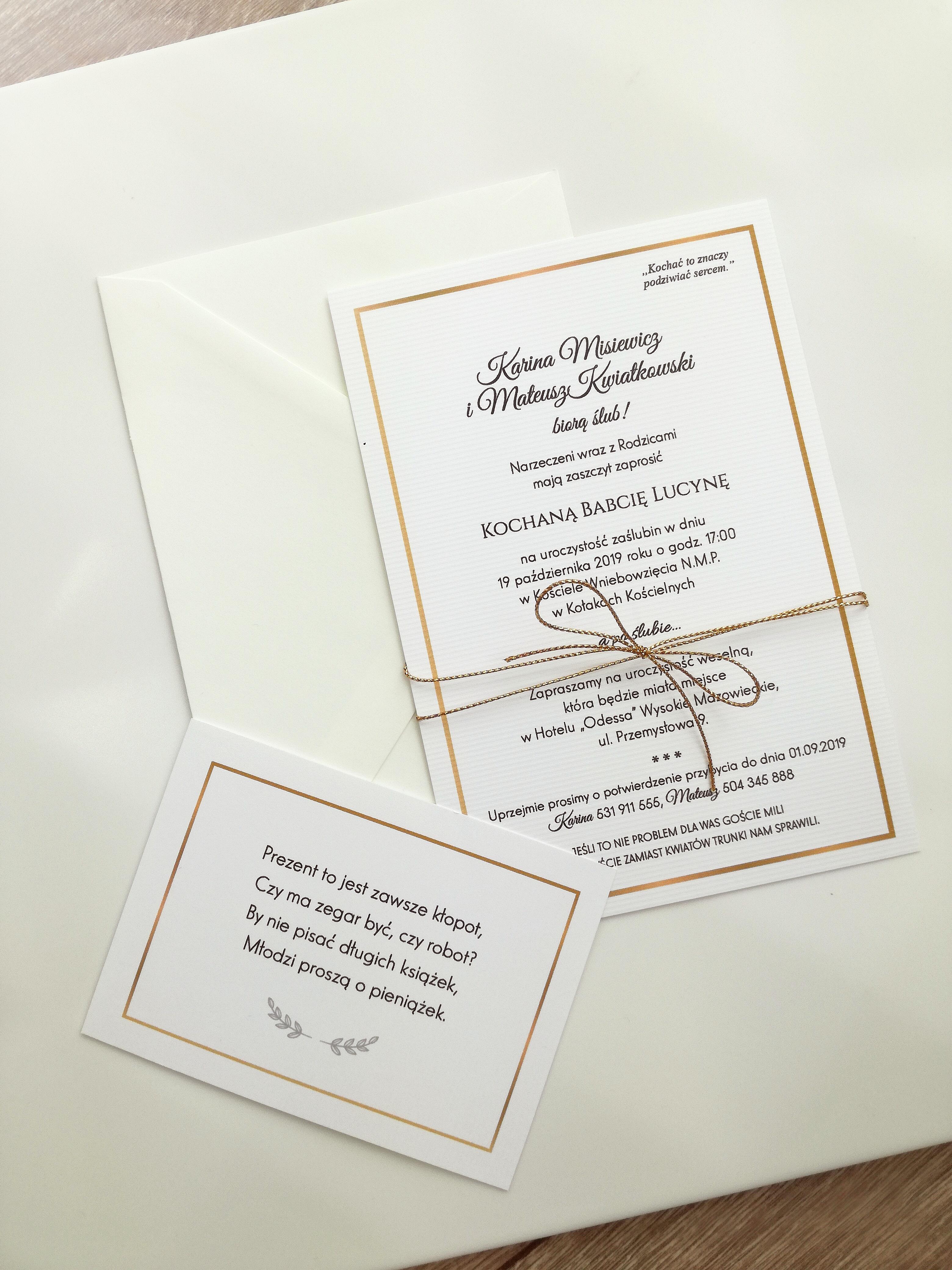 Nowość Eleganckie złote zaproszenie ślubne z RSVP i kopertą HIT YC43
